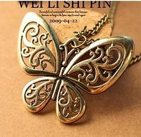Новинка! Модное ожерелье с большим резным кулоном Бабочка, винтажное колье, цвет - бронза