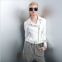 Белый пиджак из натуральной кожи