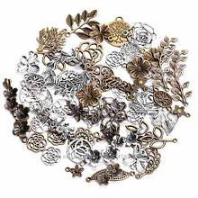 Набор из 100 металлических подвесок шармов шармиков, листья