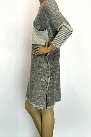 Вязане плаття з люрексом оверсайз в світло сірому кольорі, фото 2