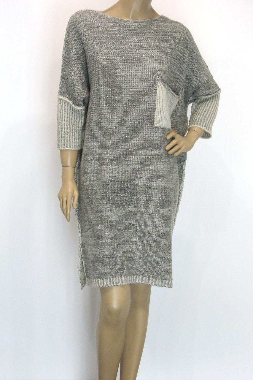 Вязане плаття з люрексом оверсайз в світло сірому кольорі
