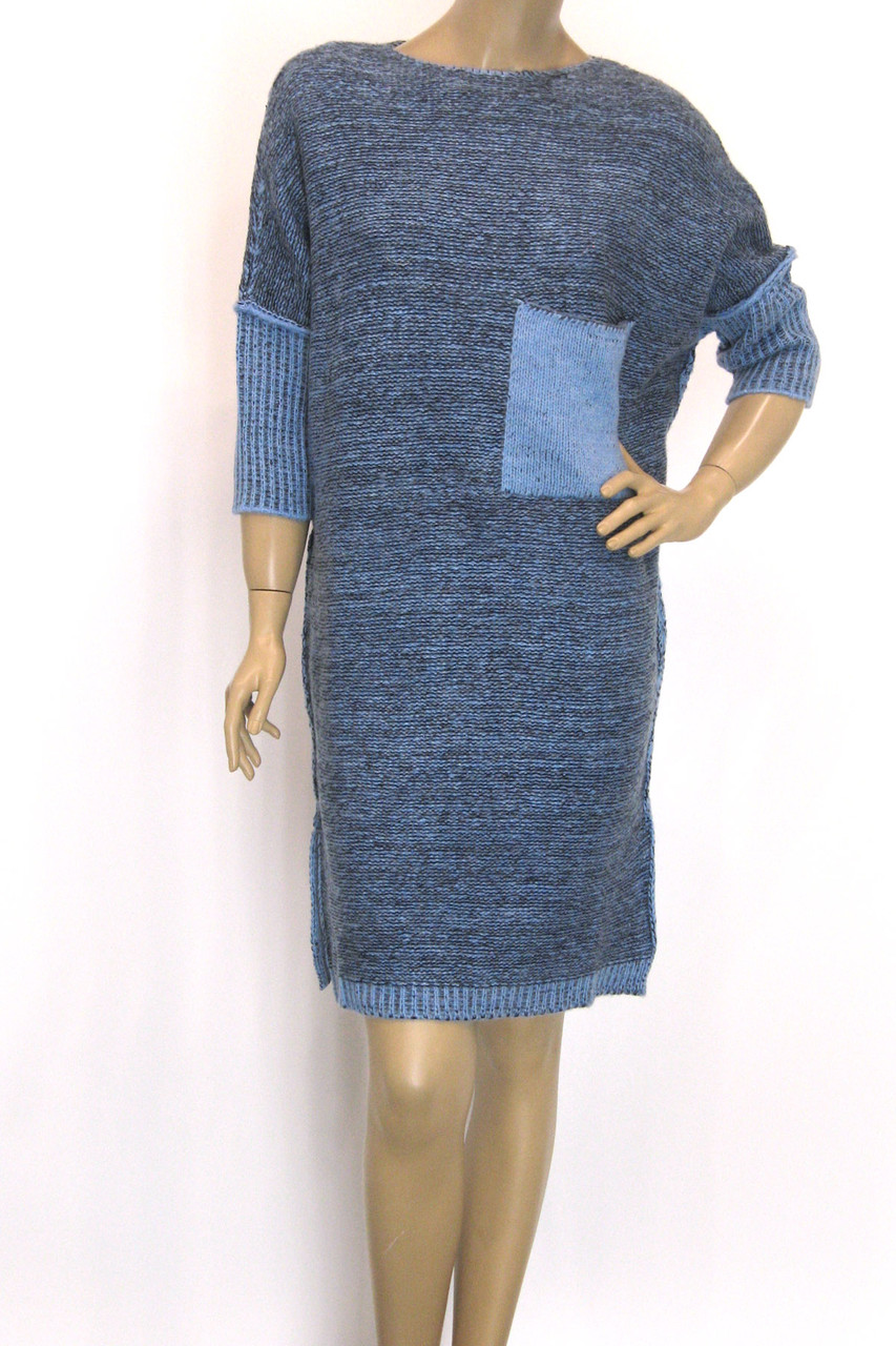 Вязаное платье с люрексом осень зима свободного покроя