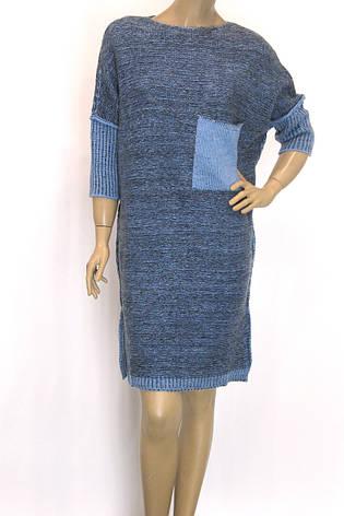 Вязаное платье с люрексом осень зима свободного покроя , фото 2