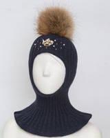 Красивейшая зимняя шапка шлем с натуральным помпоном для девочки в синем  цвете .Dan Dani 52- 673c33be0b776