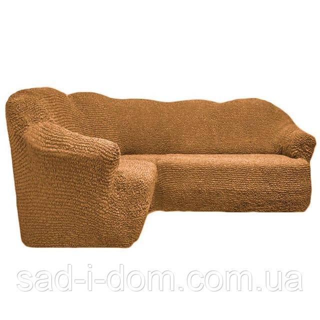 Чехол на угловой диван без юбки, бежевый