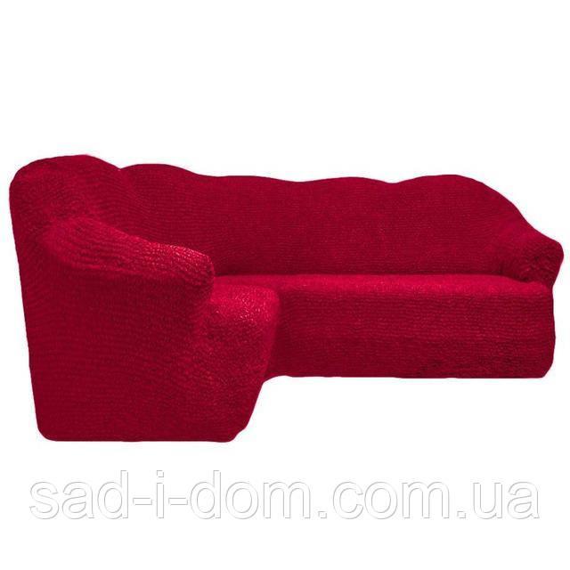 Чехол на угловой диван без юбки, бордовый