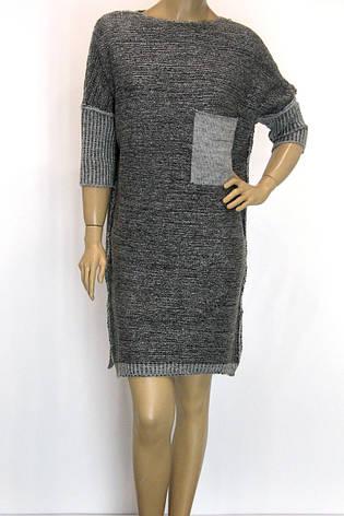 вязане плаття -туніка з люрексом розмір оверсайз , фото 2