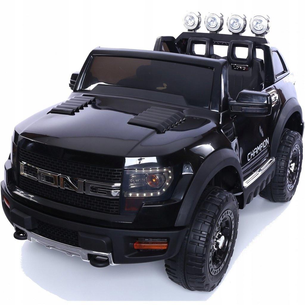 Детский электромобиль JEEP RAW LONG черный + 2 мотора по 45 ватт + EVA колеса + Кожа сидение