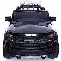 Детский электромобиль JEEP RAW LONG черный + 2 мотора по 45 ватт + EVA колеса + Кожа сидение , фото 2