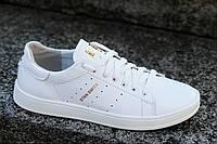 Кроссовки женские кожаные белые модные (код 4972), фото 1