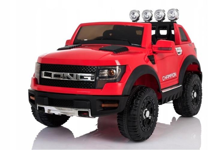 Детский электромобиль JEEP RAW LONG красный + 2 мотора по 45 ватт + EVA колеса + Кожа сидение