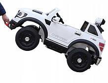 Детский электромобиль JEEP RAW LONG белый + 2 мотора по 45 ватт + EVA колеса + Кожа сидение , фото 3