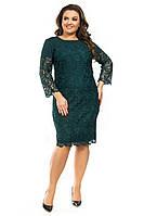 Платье батал гипюровое изумруд , фото 1