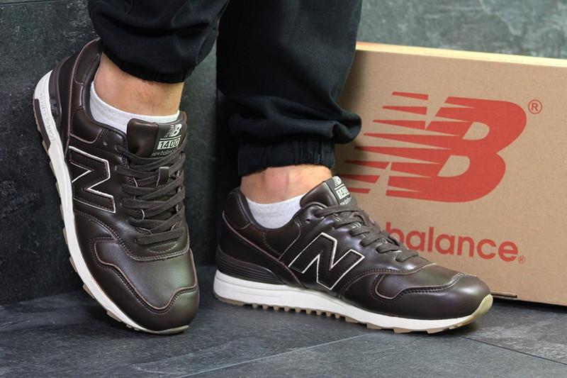 sports shoes 453b9 045d2 Топ продаж Кроссовки нью беленс 1400 мужские коричневые кожаные  демисезонные (реплика) New Balance 1400 Brown Leather