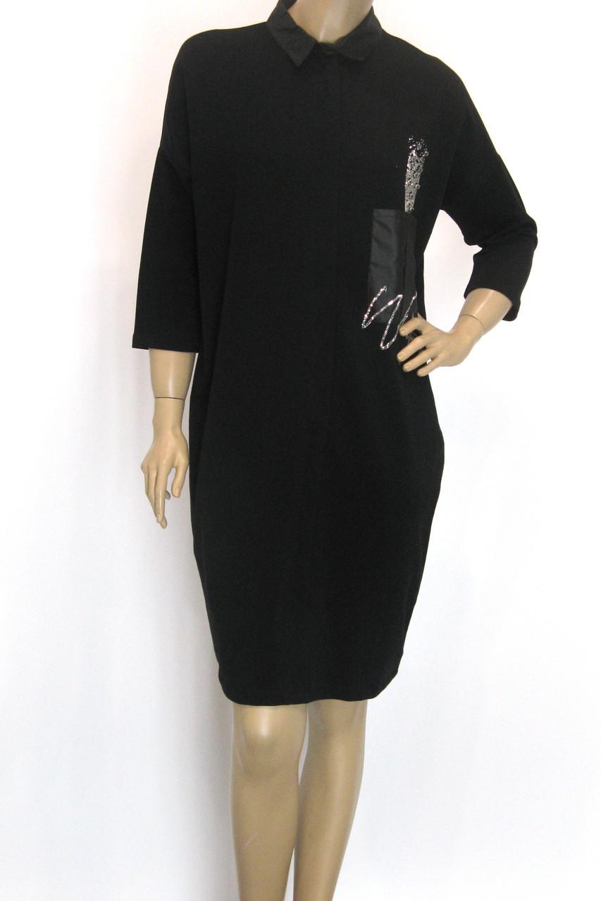 чорное платье осень зима свободного покроя
