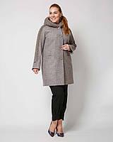 Женское деми пальто с декором вязкой и с капюшоном рр 50-58, фото 1