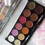 Палитра из 12 оттенков Глиттеров Get glitter eyeshadow extra shimmer DoDo Girl, фото 3