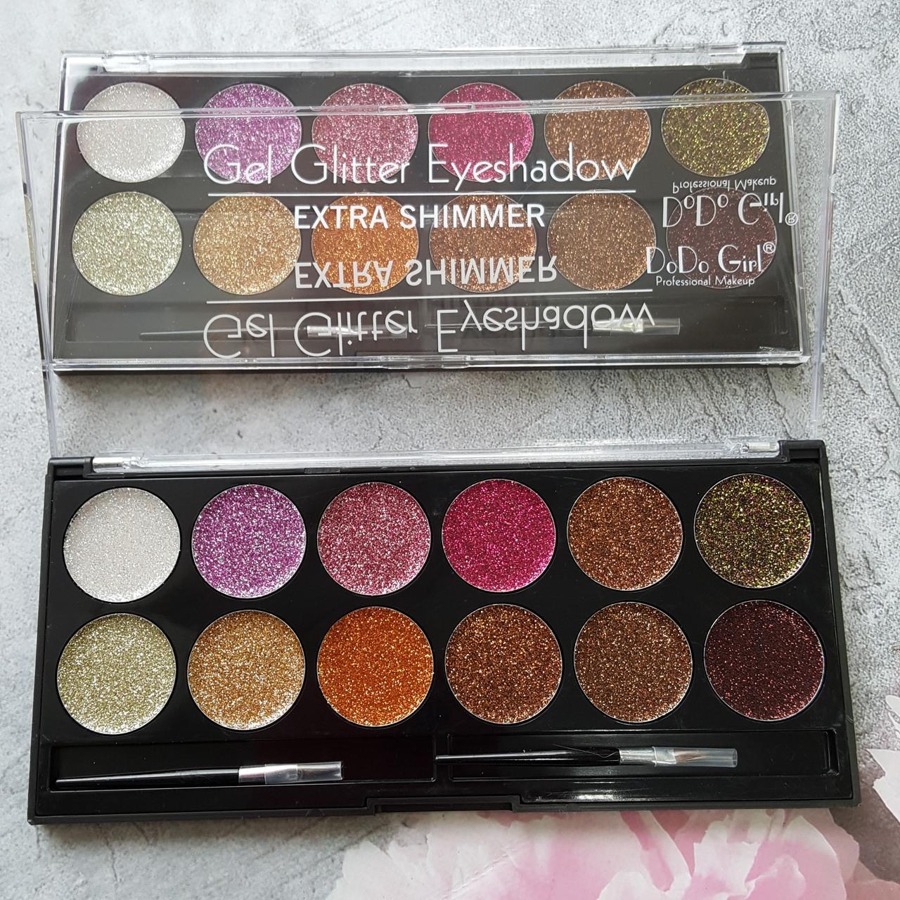 Палитра из 12 оттенков Глиттеров Get glitter eyeshadow extra shimmer DoDo Girl