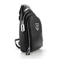 Мужская черная сумка-рюкзак слинг Philipp Plein 826 на одно плечо, фото 1