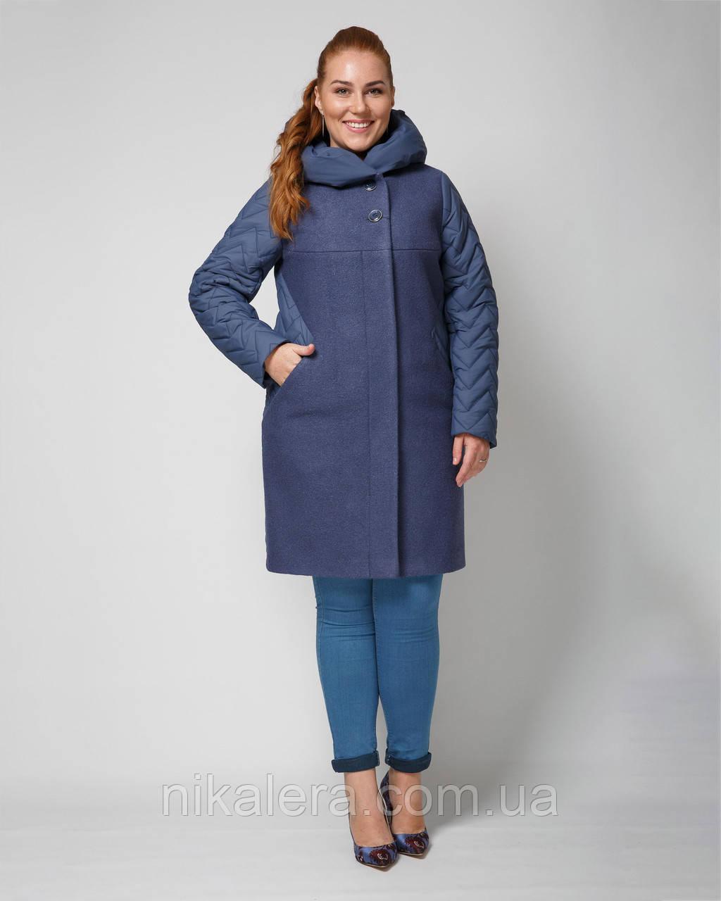 Комбинированно пальто деми с капюшоном рр 48-60