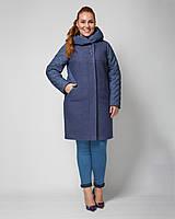 Демисезонное пальто -комбо с капюшоном рр 48-60, фото 1