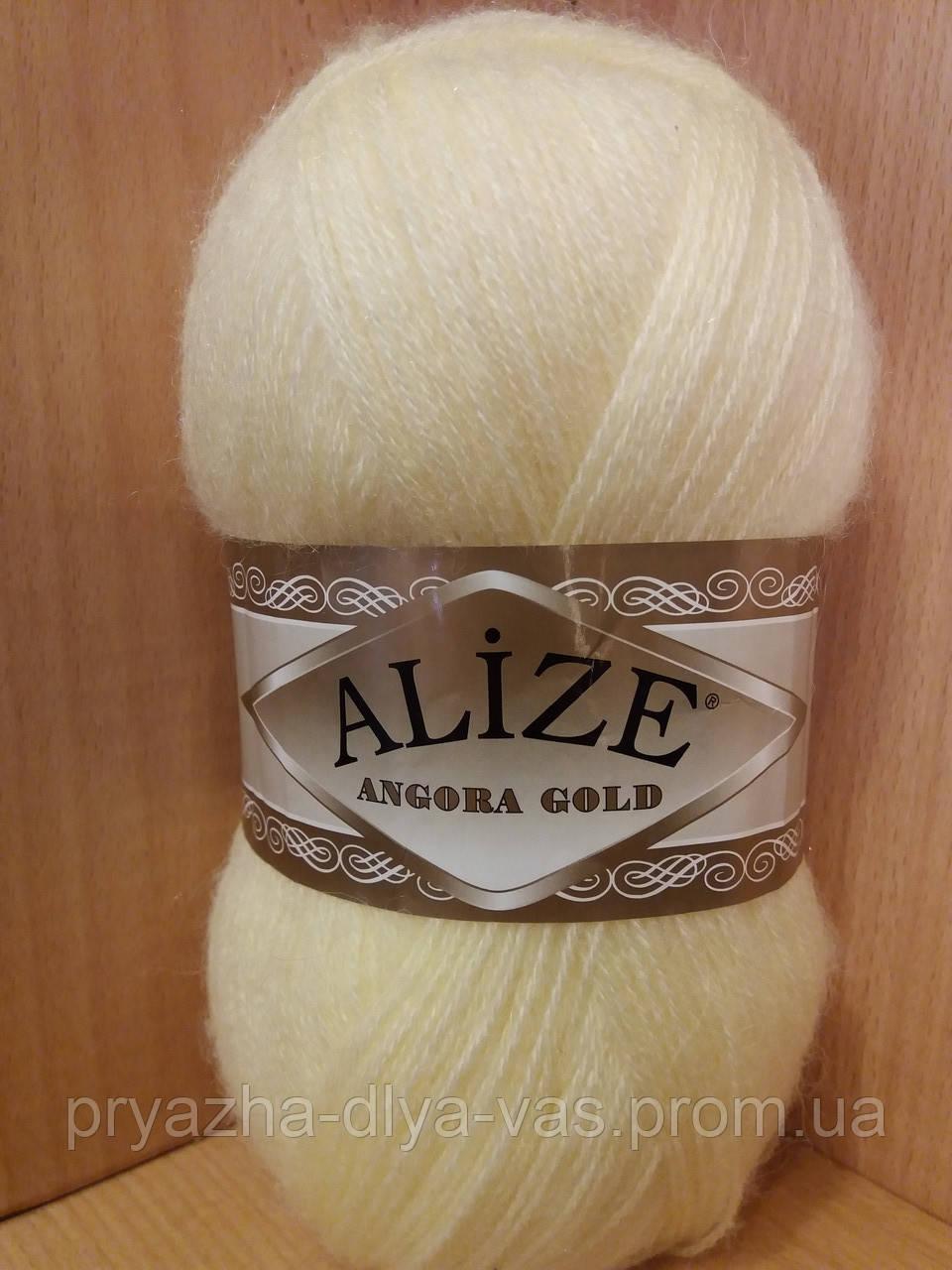 Зимняя пряжа (20% шерсть, 80% акрил; 100г/550м) Alize Angora Gold 219 (светлый лимон)