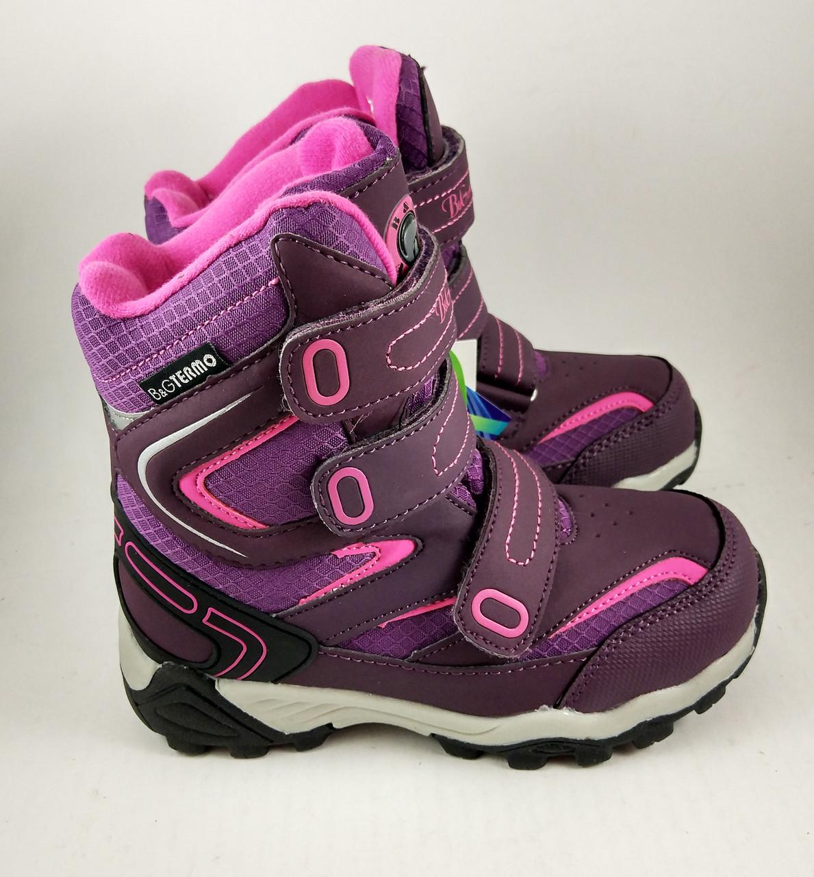 Термоботинки B&G-Termo для девочек, зимняя обувь детская, фиолтовые