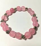 Браслет из Розового кварца, натуральный камень, цвет розовый и его оттенки, тм Satori \ Sb - 0060, фото 3