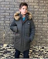 Модная зимняя куртка для мальчика подростка удлиненная 88
