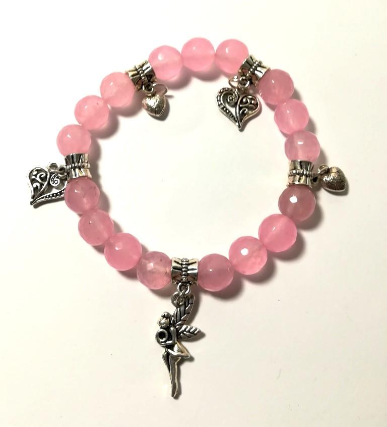 Браслет Розовый кварц, натуральный камень, цвет розовый и его оттенки, тм Satori \ Sb - 0181