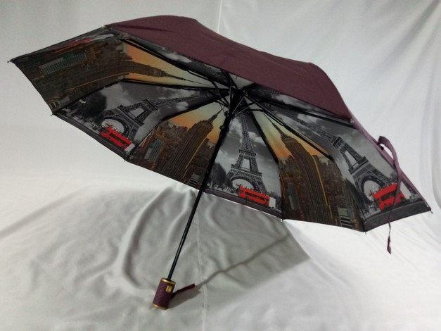 Зонт женский с двойной тканью и городами под куполом на 9 спиц