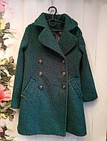 Демисезонное пальтоподростковое для девочки 10-12 лет, зеленое