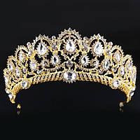 Свадебная диадема, корона, тиара на голову для невесты позолота желтая 4791с-в