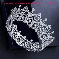 Круглая корона под серебро для невесты, высота 5,5 см., фото 1
