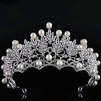 Свадебная диадема, корона, тиара на голову на невесту с жемчугом посеребрение 4793с