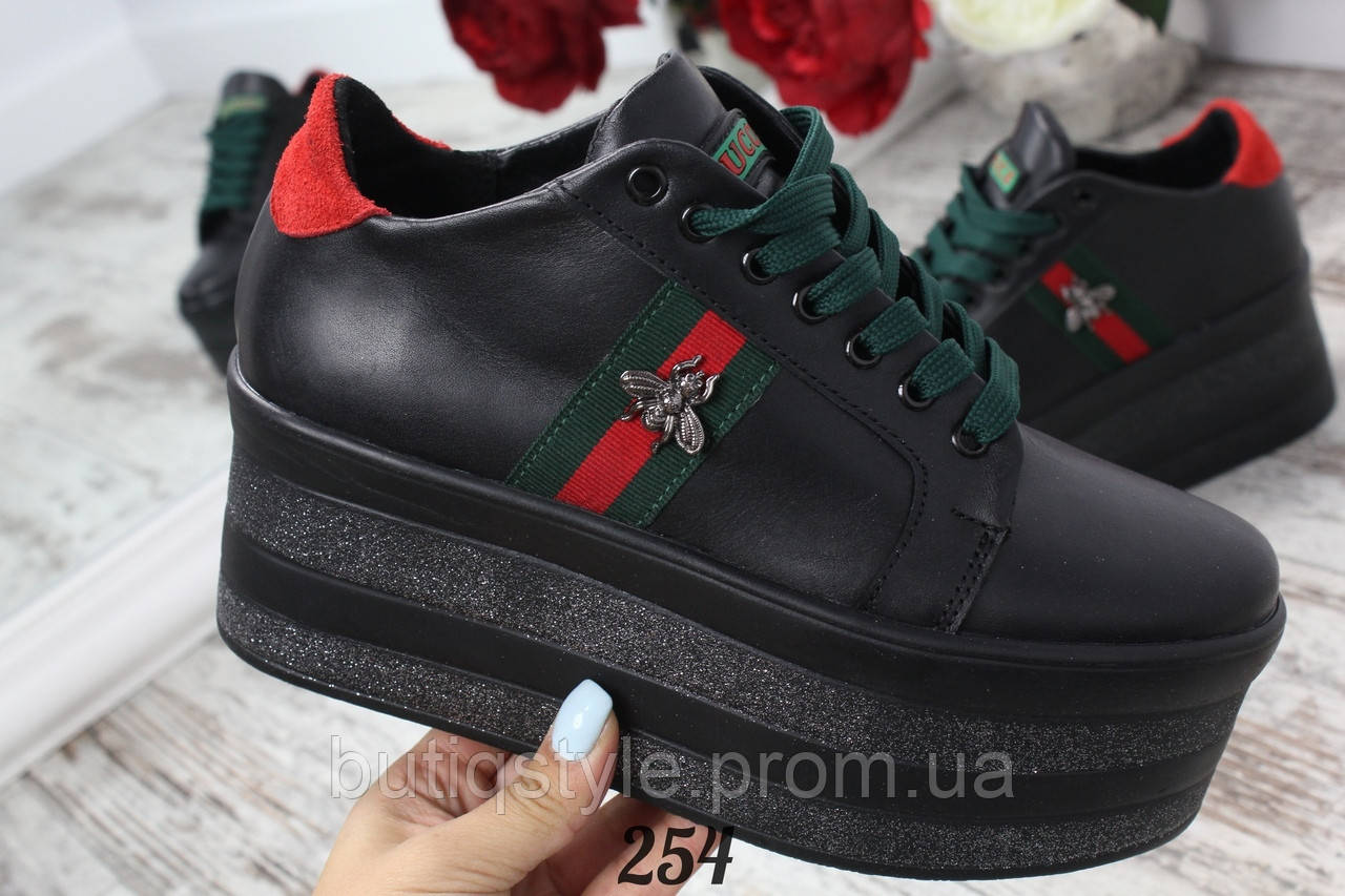 Туфли женские черные на танкетке @GUC*I@, натуральная кожа
