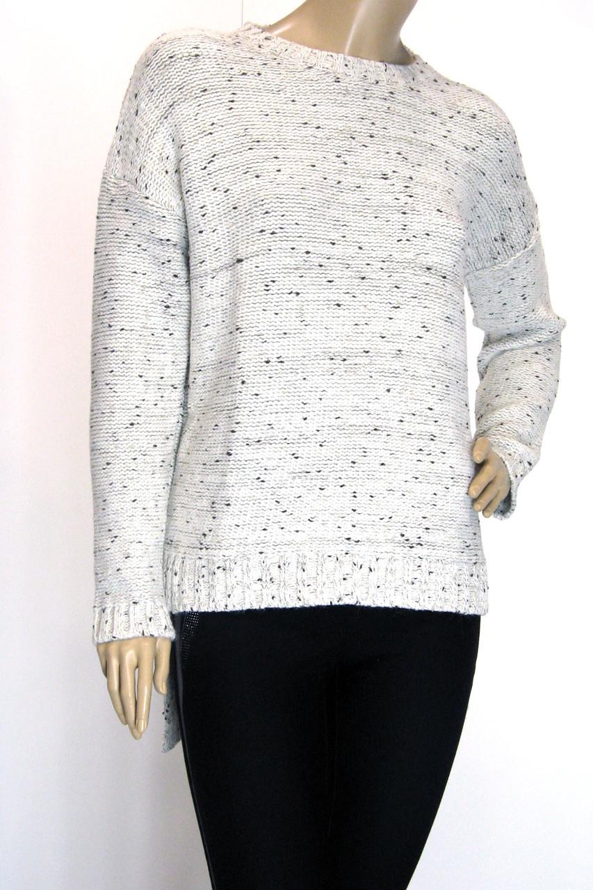 Жіночий вязаний светр фрак молочний меланж