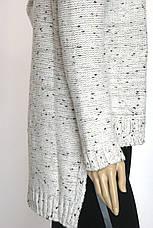 Жіночий вязаний светр фрак молочний меланж, фото 3