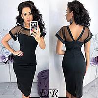 Платье с сеткой и V-образным вырезом сзади