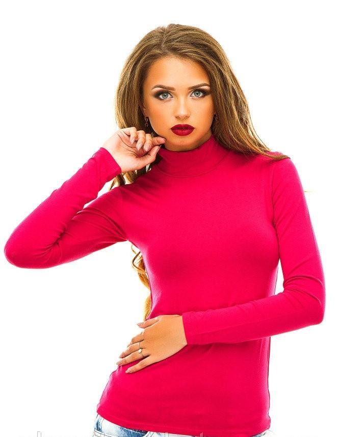 Однотонный женский гольф (розовый)