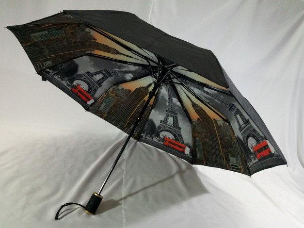Черный зонт женский с двойной тканью и городами под куполом на 9 спиц