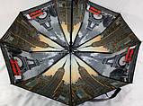 Черный зонт женский с двойной тканью и городами под куполом на 9 спиц, фото 2