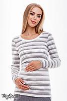Облегающий лонгслив для беременных и кормящих NR-38.021, полоска серый с молоком*, фото 1