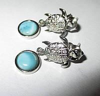 """Серебряные серьги- гвоздики  с ларимаром и топазами  """"Черепашки"""", фото 1"""