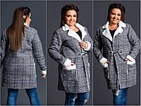 Удлиненная  женская куртка дубленка. Большой размер.