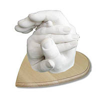 """Набор для создания 3D слепка рук """"Руки влюбленных"""" с дерев. Подставкой"""