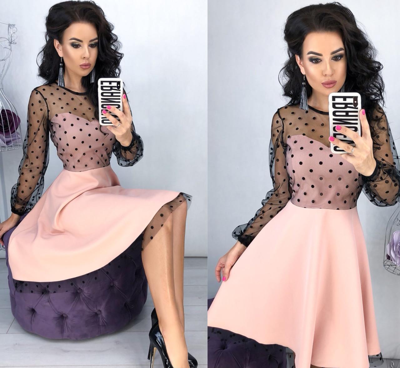 Женское платье клеш с верхом из сетки в горошек