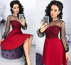Женское платье клеш с верхом из сетки в горошек, фото 3