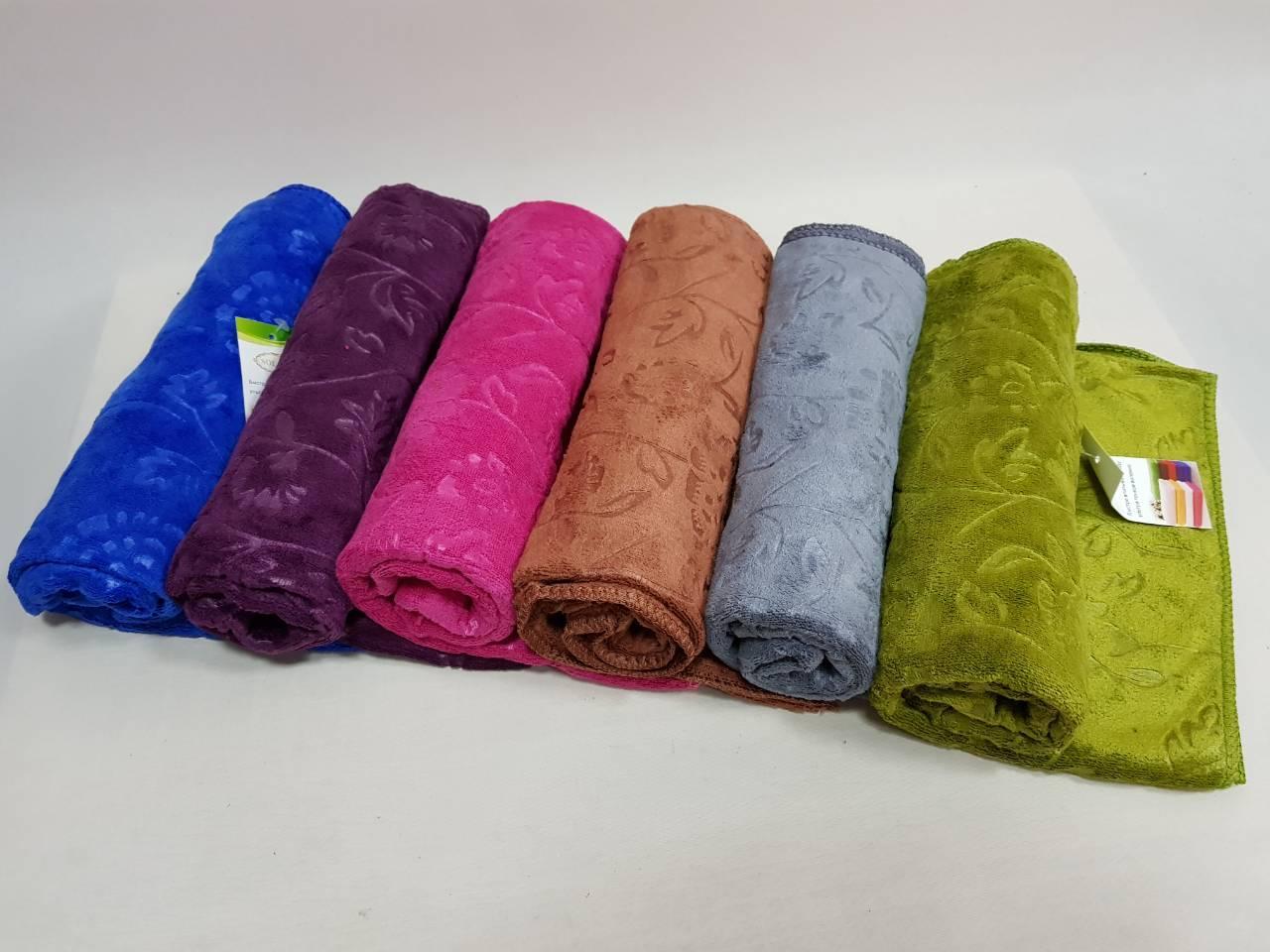 Полотенце банное микрофибра 140х70. В упаковке 6шт разного цвета.