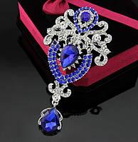 Брошь 9,5*5см корона с подвеской Сапфир (синяя), фото 1